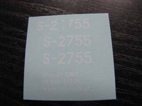 cat. no. 1123K: STAR 20 GM8 - decals